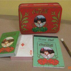 Doppio mazzo di carte con astuccio in alluminio completo di taccuino e matita originali Vintage Carte da gioco
